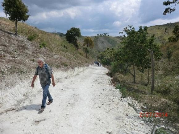 Steve Roberts finishing our 30 minute walk to our village visit.
