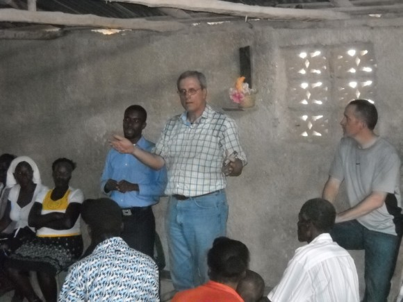 Randy Roberts preaching Jesus in the village.